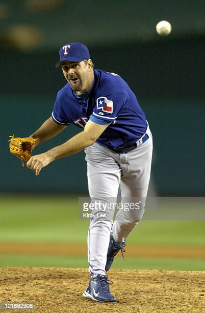 Texas Rangers starting pitcher Kenny Rogers allowed seven hits and two runs against the Anaheim Angels at Angel Stadium on Tuesday, April 20, 2004.