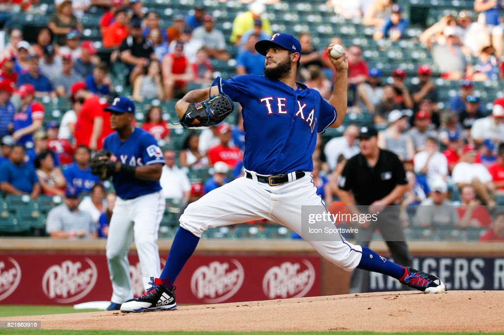 Texas Rangers Starting pitcher Martin Perez (33) throws during the MLB game between the Miami Marlins and Texas Rangers on July 24, 2017 at Globe Life Park in Arlington, TX.