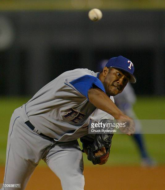 Texas Rangers starting pitcher, Pedro Astacio, pitches the game against the Chicago White Sox May 17, 2005 at U.S. Cellular Field in Chicago,...