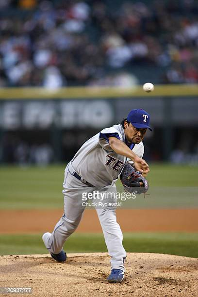 Texas Rangers' starting Pitcher, Vicente Padilla pitches during their game versus the Chicago White Sox April 19, 2007 at U.S. Cellular Field in...