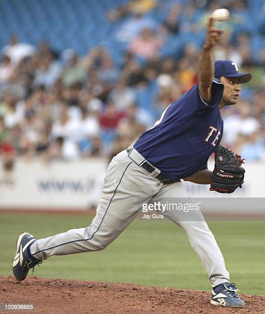 Texas Rangers starting pitcher Vicente Padillla throws a pitch against the Toronto Blue Jays in MLB action at Rogers Centre in Toronto, Canada on...