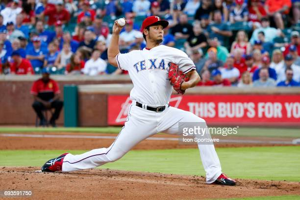 Texas Rangers starting pitcher Yu Darvish throws a pitch during the MLB game between the New York Mets and Texas Rangers in June 72017 at Globe Life...