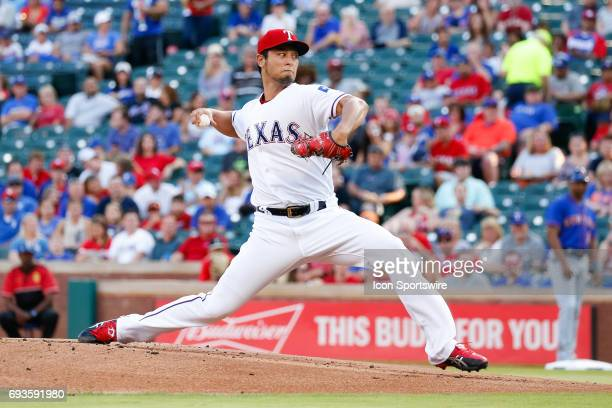 Texas Rangers starting pitcher Yu Darvish throws during the MLB game between the New York Mets and Texas Rangers in June 72017 at Globe Life Park in...