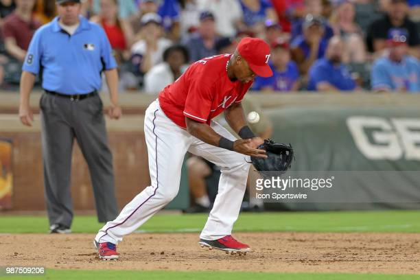 Texas Rangers Third base Adrian Beltre bobbles a ground ball during the game between the Chicago White Sox and Texas Rangers on June 29 2018 at Globe...