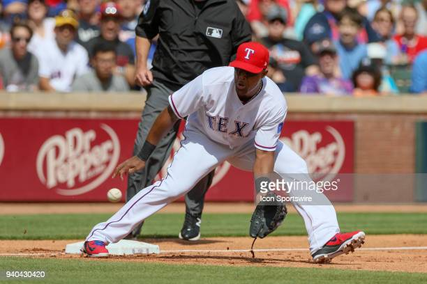 Texas Rangers Third base Adrian Beltre fields a ball during the baseball game between the Houston Astros and Texas Rangers on March 31 2018 at Globe...