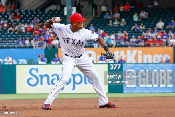 Texas Rangers Third base Adrian Beltre fields a ground ball during the MLB game between the Toronto Blue Jays and Texas Rangers on June 19 2017 at...