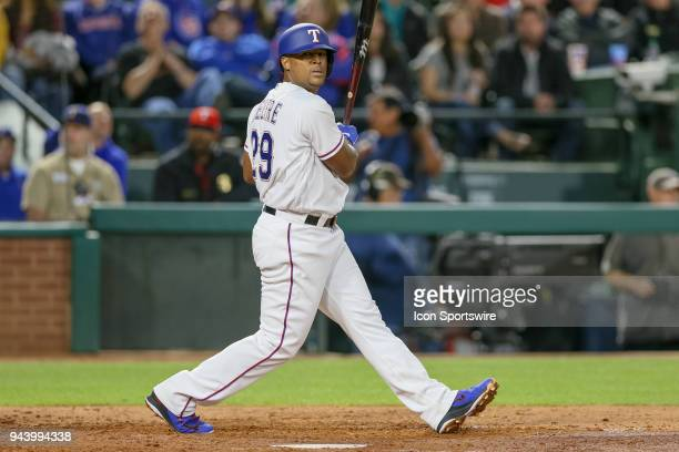 Texas Rangers Third base Adrian Beltre looks over after fouling off a pitch during the game between the Los Angeles Angels and Texas Rangers on April...