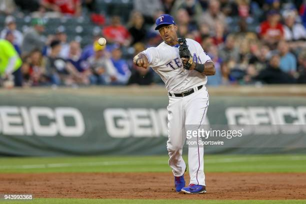 Texas Rangers Third base Adrian Beltre throws after making a play on a ground ball during the game between the Los Angeles Angels and Texas Rangers...