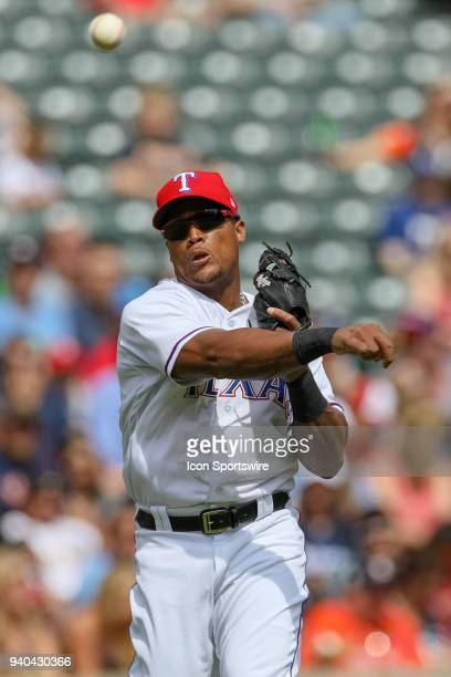 Texas Rangers Third base Adrian Beltre throws the ball during the baseball game between the Houston Astros and Texas Rangers on March 31 2018 at...