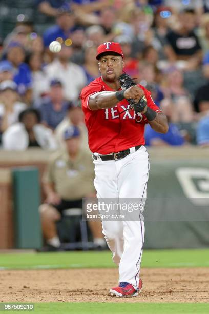 Texas Rangers Third base Adrian Beltre throws to first after fielding a ground ball during the game between the Chicago White Sox and Texas Rangers...