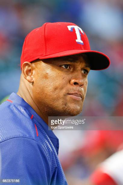 Texas Rangers Third base Adrian Beltre watches on from the dugout during the MLB game between the San Diego Padres and Texas Rangers on May 10 2017...