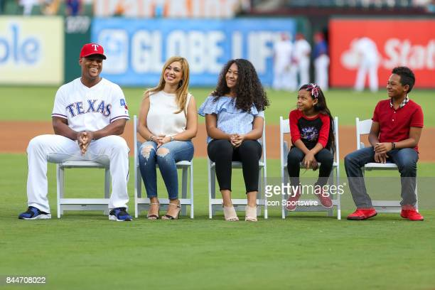 Texas Rangers third baseman Adrian Beltre is honored for his record 3000 hits before the MLB game between the New York Yankees and Texas Rangers on...