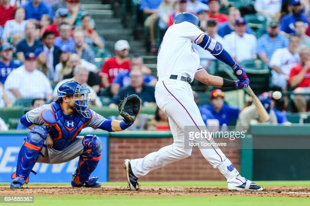 Texas Rangers third baseman Joey Gallo hits a single during the game between the Texas Rangers and the New York Mets on June 06 2017 at Globe Life...