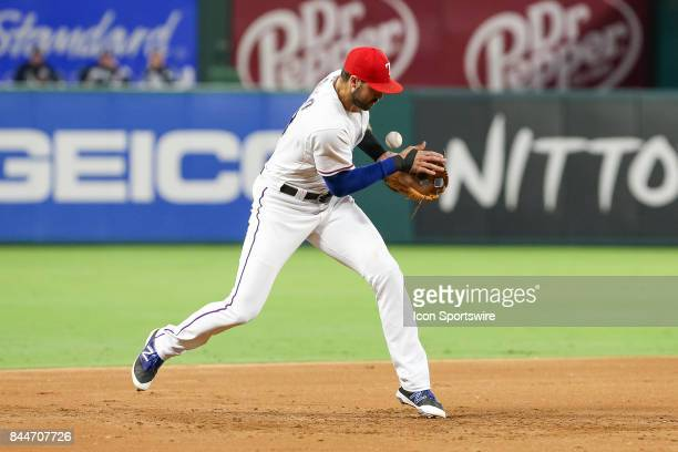Texas Rangers third baseman Joey Gallo misplays a ground ball during the MLB game between the New York Yankees and Texas Rangers on September 8 2017...