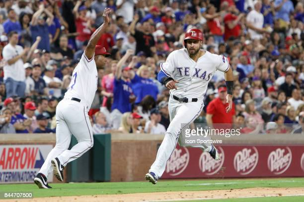 Texas Rangers third baseman Joey Gallo rounds third during the MLB game between the New York Yankees and Texas Rangers on September 8 2017 at Globe...