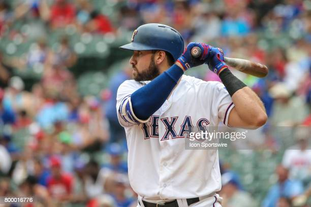 Texas Rangers third baseman Joey Gallo stands at bat during the game between the Toronto Blue Jays and Texas Rangers on June 22 at Globe Life Park in...