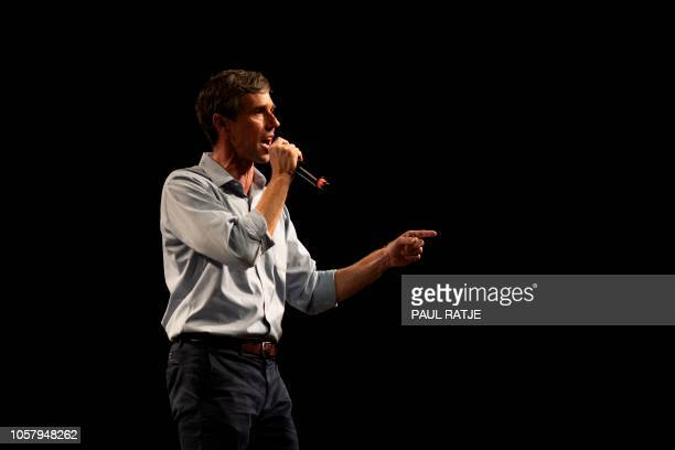 Texas Representative and Senatorial Democratic Party Candidate Beto O'Rourke delivers a speech at the University of Texas in El Paso Texas on...