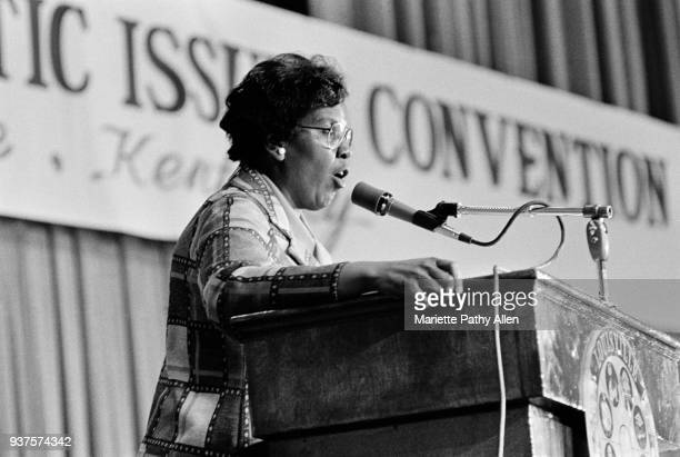 Texas Representative Barbara Jordan speaks at the podium of the National Democratic Issues Convention.