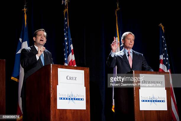Texas Republican candidates for United States Senate challenger Ted Cruz left and front runner Lt Gov David Dewhurst right debate each other at an...