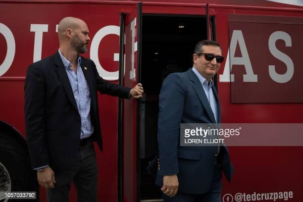 Texas Republican US Senator Ted Cruz arrives to a campaign rally in Victoria Texas on November 3 2018