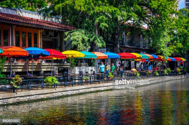 a texas riverwalk in color - san antonio texas stock photos and pictures
