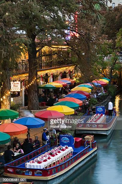 usa, texas, san antonio, riverwalk, evening, elevated view - san antonio river walk stock pictures, royalty-free photos & images