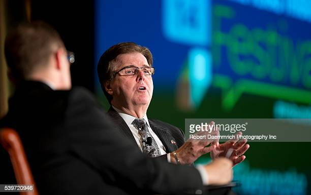Texas Sen Dan Patrick RHouston speaks to editor Evan Smith at the Texas Tribune Festival at the University of Texas Patrick a conservative is favored...