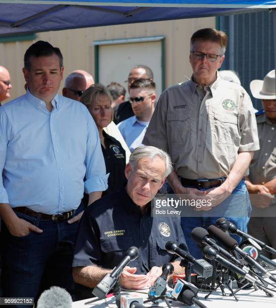 Texas Sen Ted Cruz Texas Gov Greg Abbott and Texas Lt Gov Dan Patrick speak during a press conference about the shooting incident at Santa Fe High...