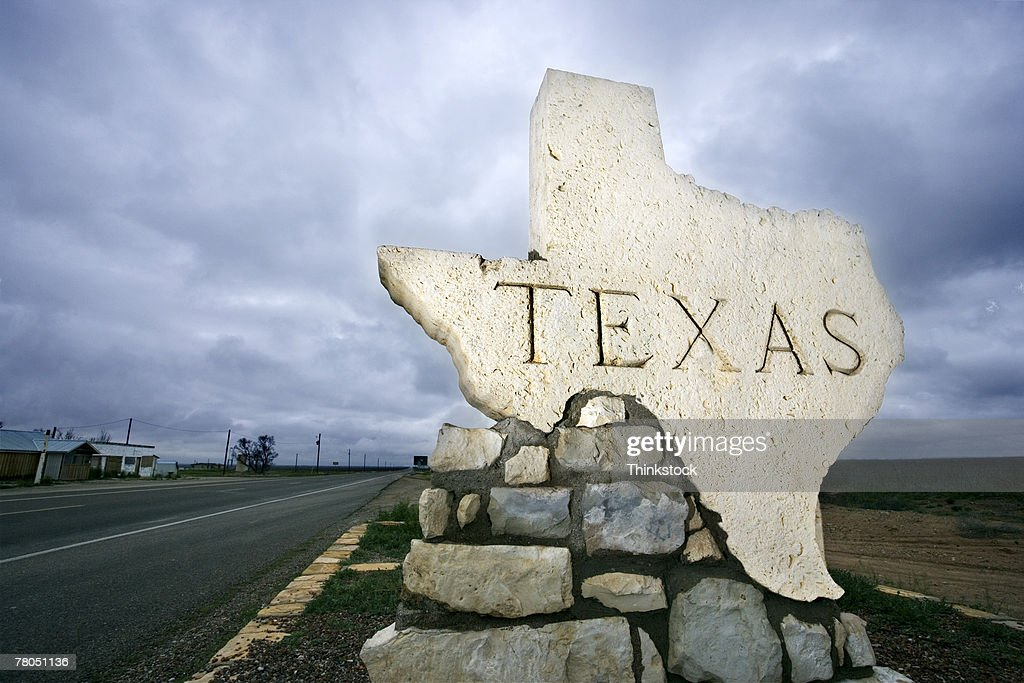 Texas sign at border : Stock Photo