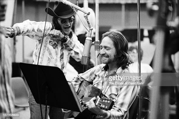 Texas singer songwriter Doug Sahm and country singer songwriter Willie Nelson in a recording session for Willie Nelson in February, 1973 at the...