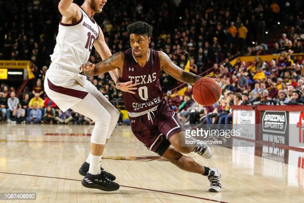 Texas Southern Tigers forward Devocio Butler drives to the basket during the college basketball game between the Texas Southern Tigers and the...