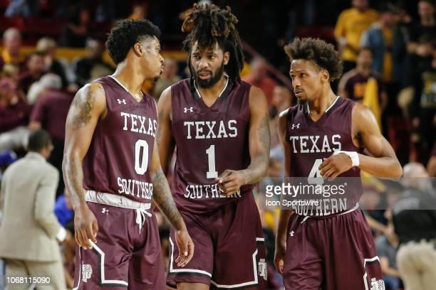 Texas Southern Tigers forward Devocio Butler , Texas Southern Tigers forward Jeremy Combs and Texas Southern Tigers guard Derrick Bruce discuss...