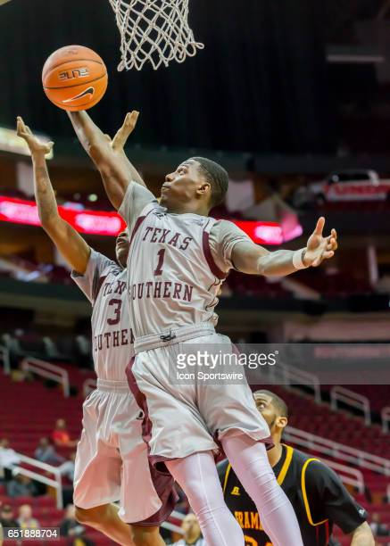 Texas Southern Tigers guard Jalan McCloud goes up for the rebound during the SWAC basketball tournament game between the Texas Southern Tigers and...
