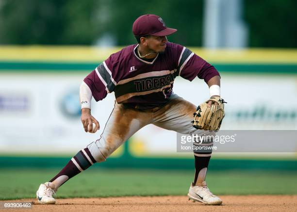 Texas Southern Tigers infielder Horace Leblanc fields a ball during a NCAA Baton Rouge Regional game between the LSU Tigers and Texas Southern Tigers...