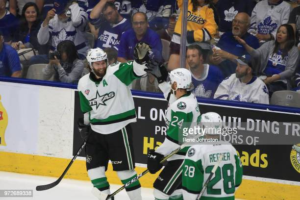 TORONTO ON Texas Stars Travis Morin celebrates his the second goal of the night against the Marlies with Reese Scarlett Calder Cup action on June 12...