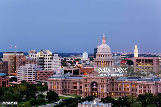 Texas State Capitol building in Austin cityscape, Texas, United States