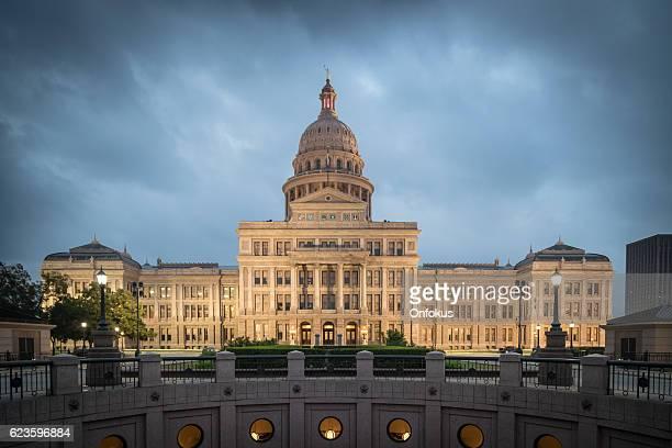 Texas State Capitol Building in Austin Illuminated at Sunrise