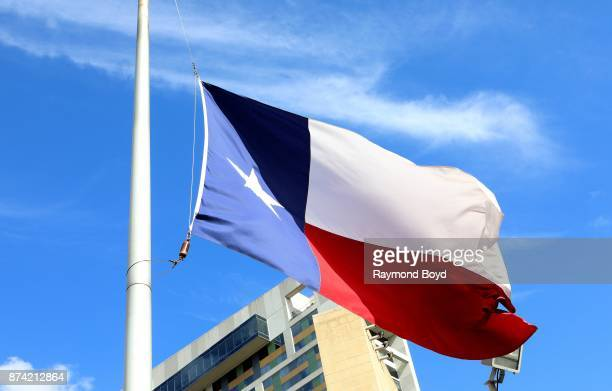 Texas State flag flies outside Toyota Center home of the Houston Rockets basketball team in Houston Texas on November 6 2017