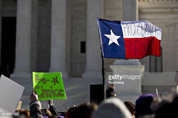 A Texas state flag in support of prochoice rights is flown outside the US Supreme Court in Washington DC US on Wednesday March 2 2016 Supreme Court...