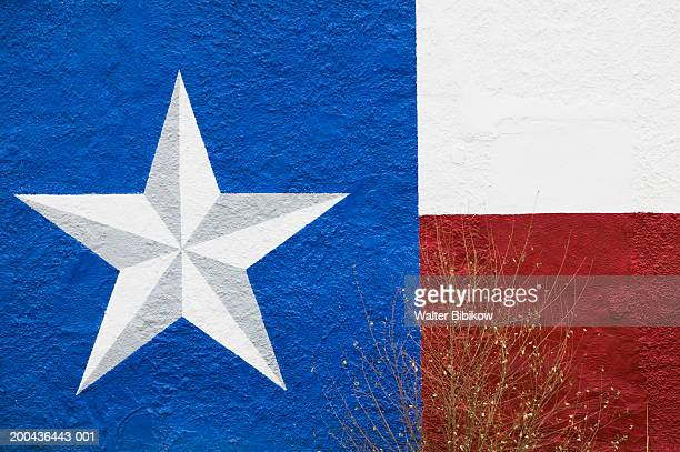 Texas state flag painted on building