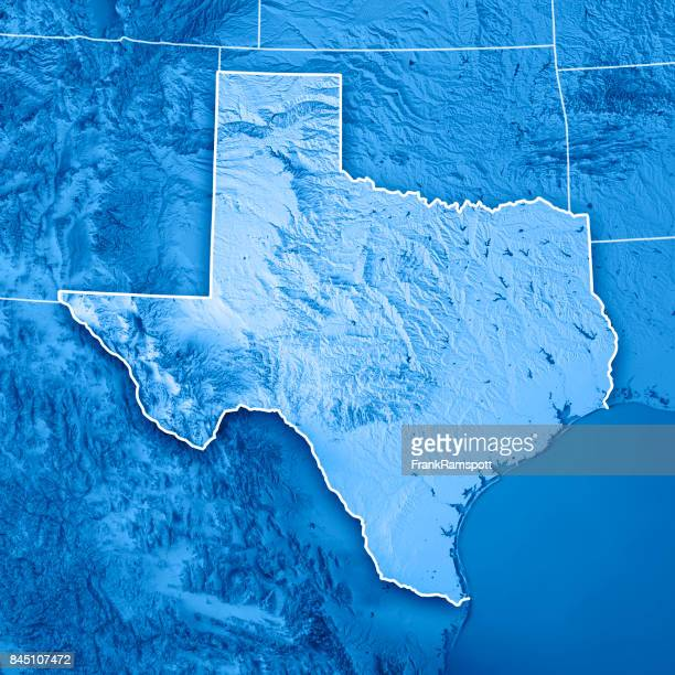 Texas State USA 3D Render Topographic Map Blue Border