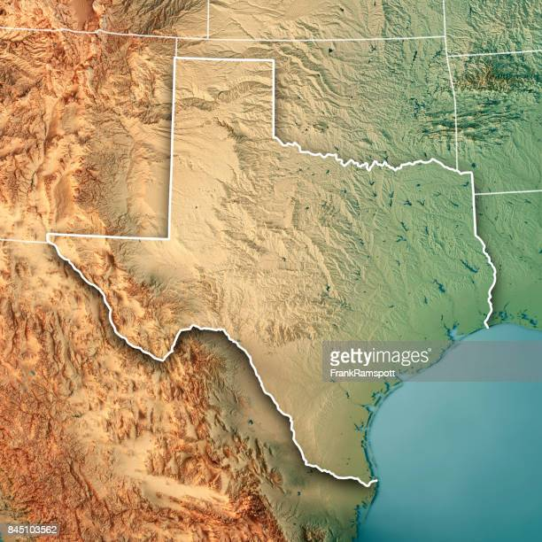 Texas State USA 3D Render Topographic Map Border