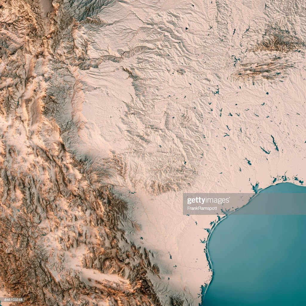 Texas State USA 3D Render Topographic Map Neutral : Stock Photo