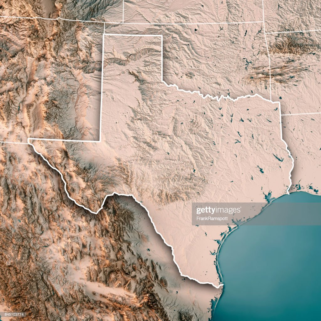 Texas State Usa 3d Render Topographic Map Neutral Stock Photo ...