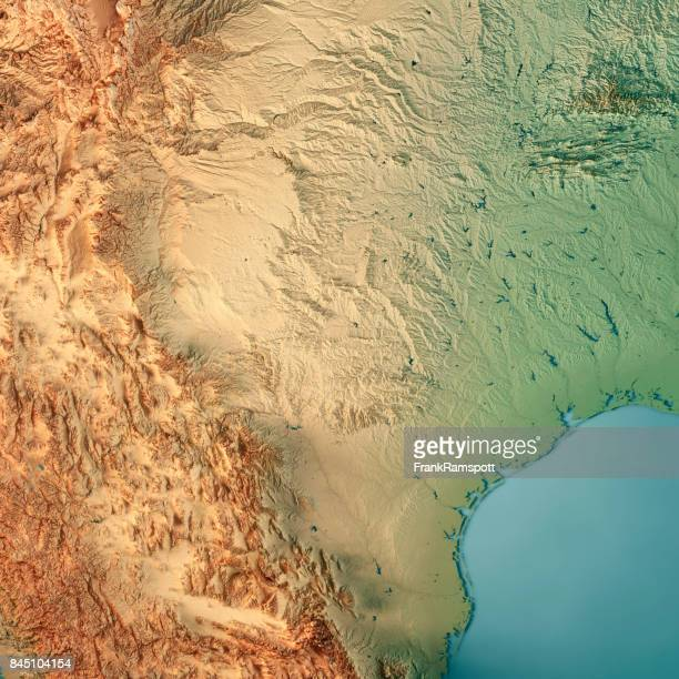 texas state usa 3d render topographic map - gulf coast states stock pictures, royalty-free photos & images