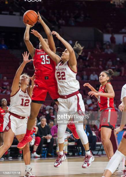 Texas Tech Alexis Tucker going up for two points versus Oklahoma on March 7 at the Lloyd Noble Center in Norman Oklahoma