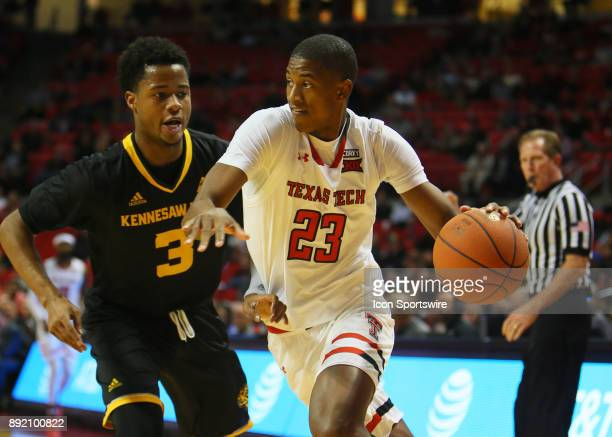 Texas Tech guard Jarrett Culver drives past Kennesaw State guard James Scott during the Texas Tech Raider's 8253 victory over the Kennesaw State Owls...