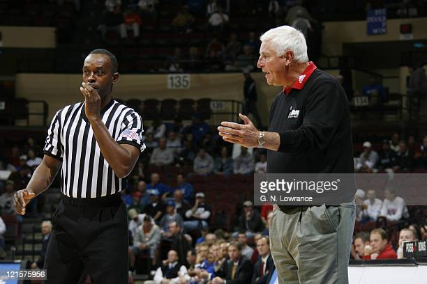 Texas Tech head coach Bob Knight questions an officials call during the CBE Classic consolation game between Texas Tech and Air Force at Municipal...