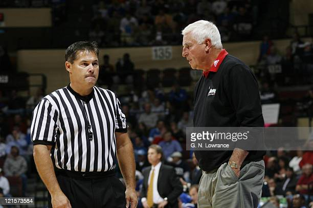 Texas Tech head coach Bob Knight speaks with an official during the CBE Classic consolation game between Texas Tech and Air Force at Municipal...