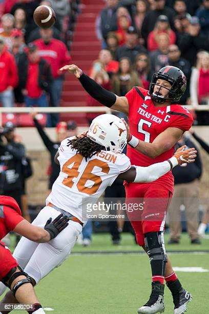 Texas Tech quarterback Patrick Mahomes III throws the ball before Texas linebacker Malik Jefferson tackles him during the game between Texas...